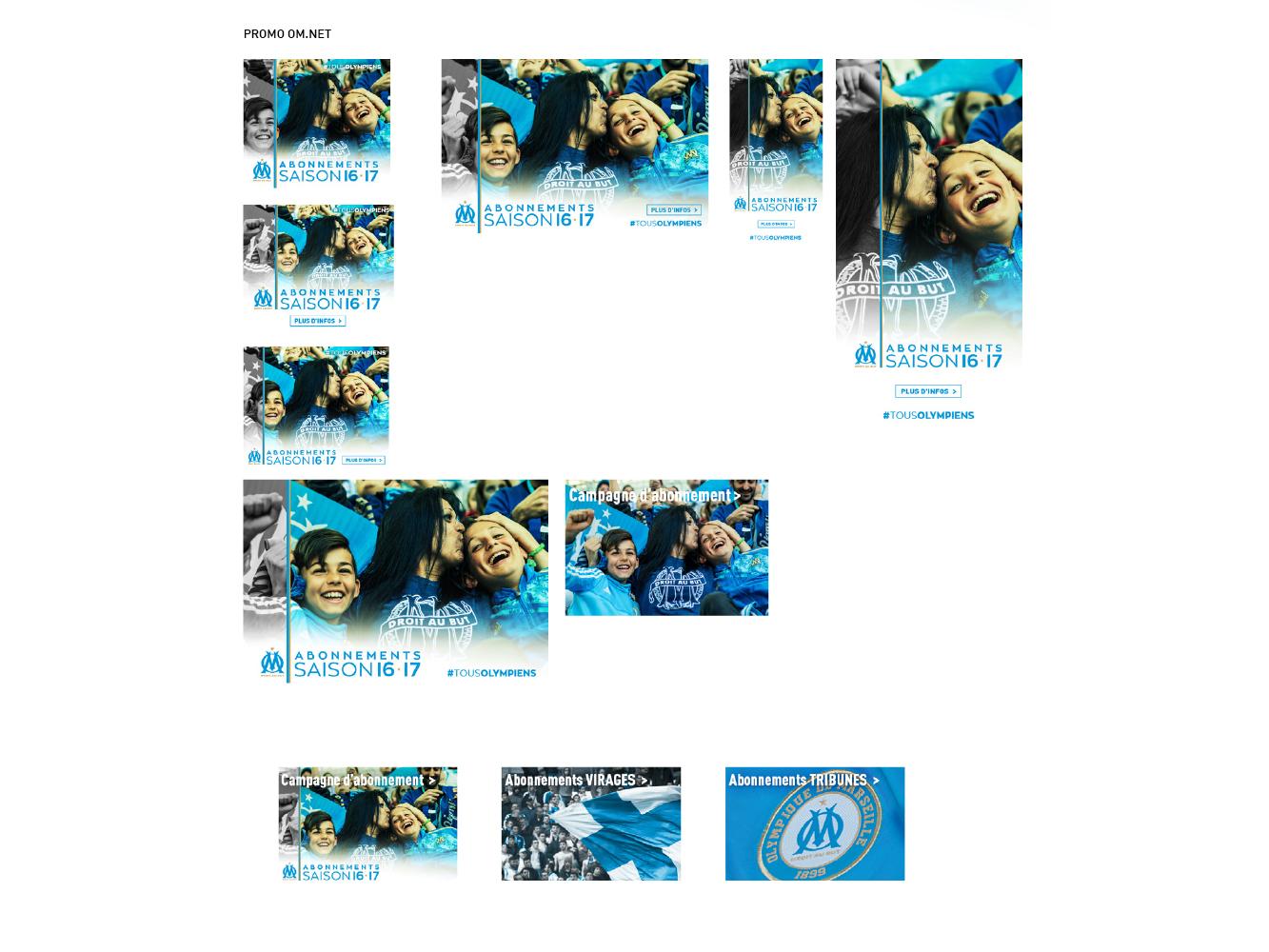 visuels OM.net campagne d'abonnement Olympique de Marseille
