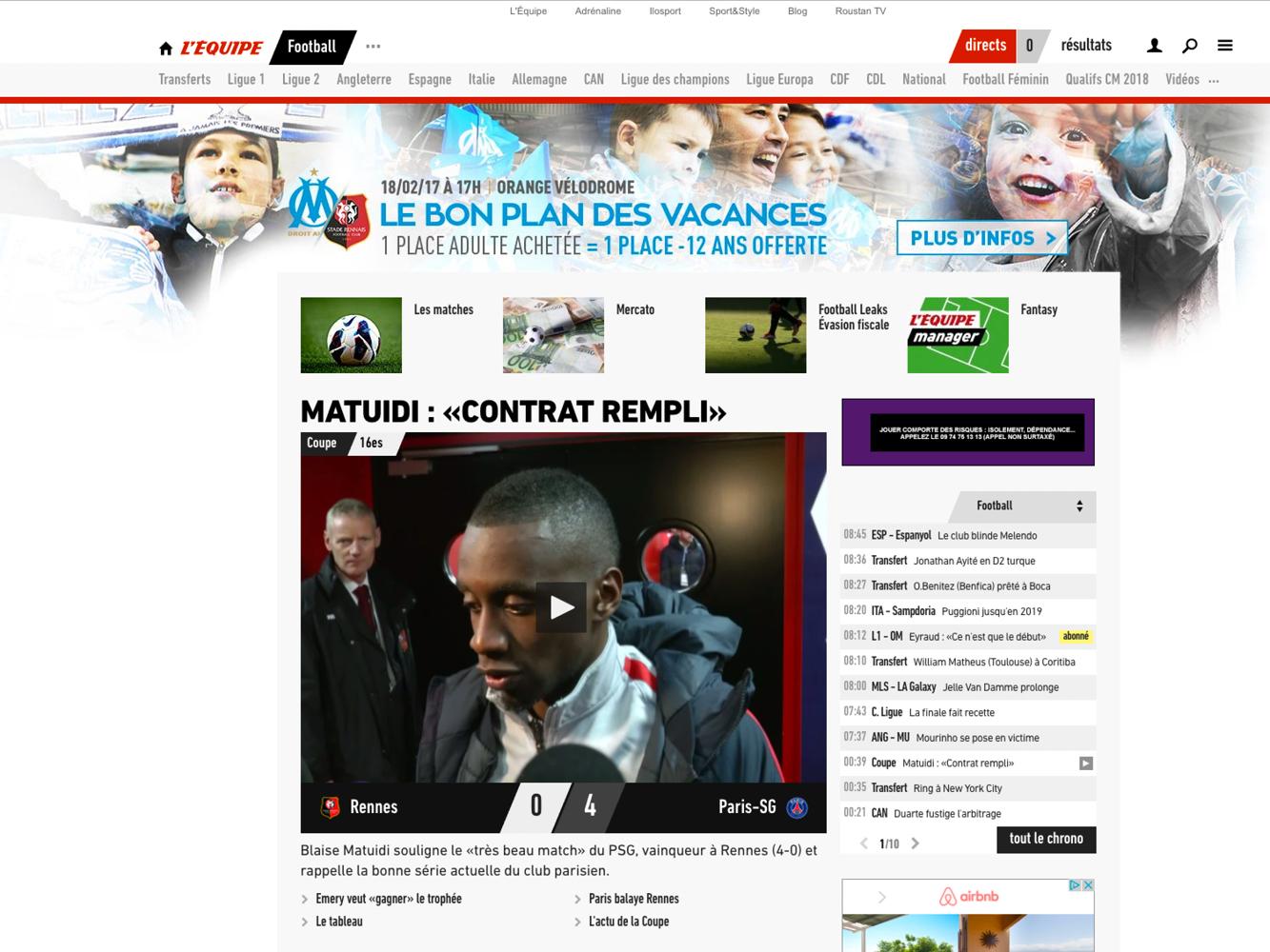 habillage du site l'equipe.fr campagne d'abonnement Olympique de Marseille