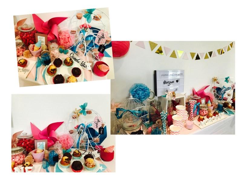 sweet table rose et bleu pour l'anniversaire de Morgane