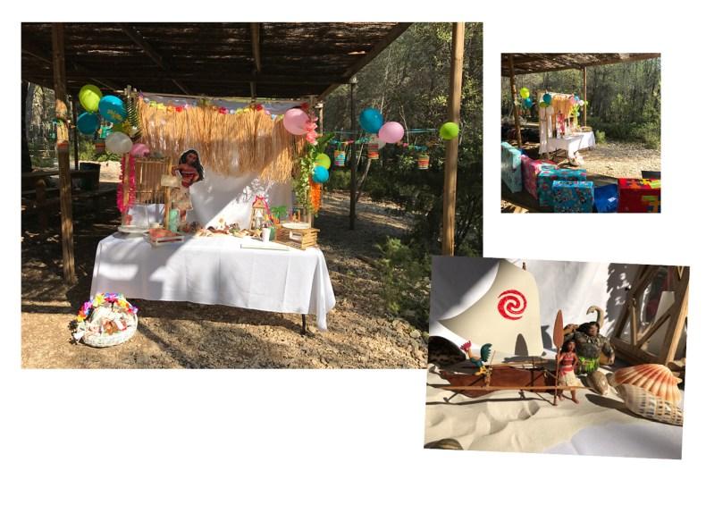 candy bar thème Vaiana pour les 5 ans de Fanny anniversaire en plein air