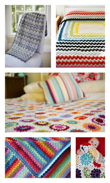 """Clockwise from top left- Churchmouse Yarns and Tea's Vintage Crocheted Blanket, Purl Soho's """"Giant, Giant Granny Square Afghan"""", Lavendar and Wild Rose, Petite Purls- Issue 4, Attic 24"""