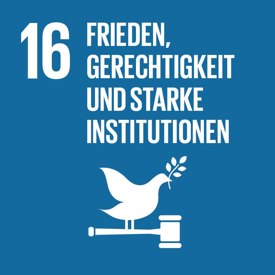 """Das Ziel 16 """"Frieden, Gerechtigkeit und starke Institutionen""""."""