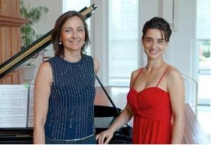 Featured solo artists are Daniela Shtereva (left) on violin and Belina Kostadinova (right) on piano.