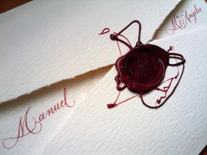Invitaciones de boda caligrafiada