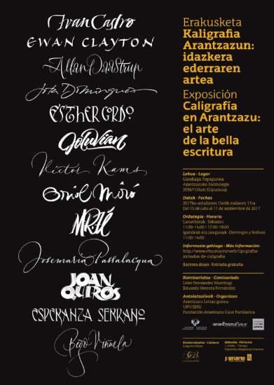 Cartel de la exposicion caligrafica de Arantzazu, 2017