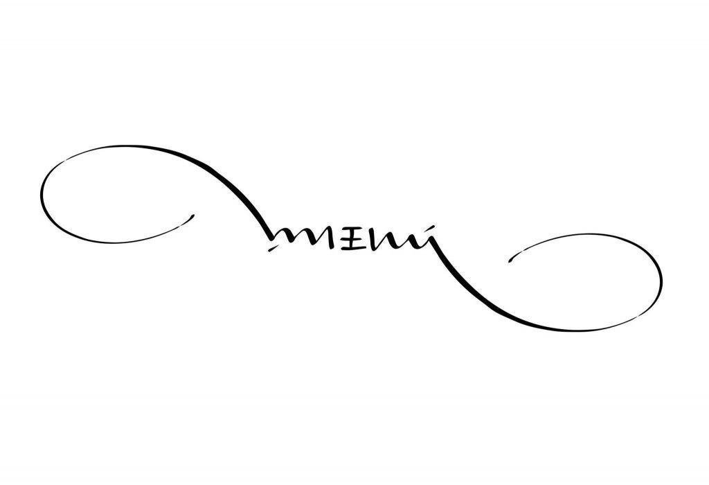 Menú, cuchara y ambigrama