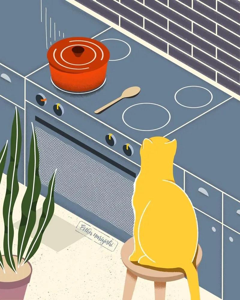 cat yoga illustration by Esther Nariyoshi