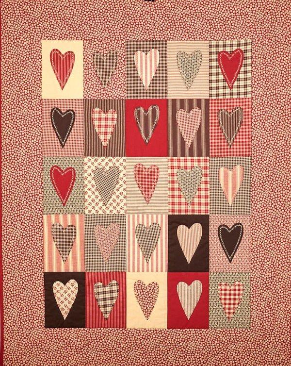 quilt corazones