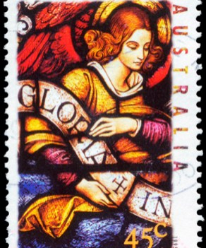Angel carrying Banner, from Christmas series of Australian stamps, c. 1995