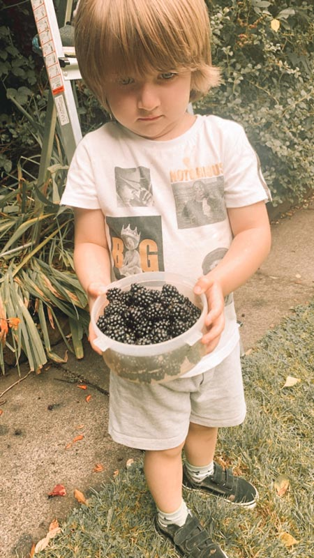 Aprendi muitas coisas sendo mãe de menino de 3 anos. Na foto, o Gael segura um prato cheio de amoras.