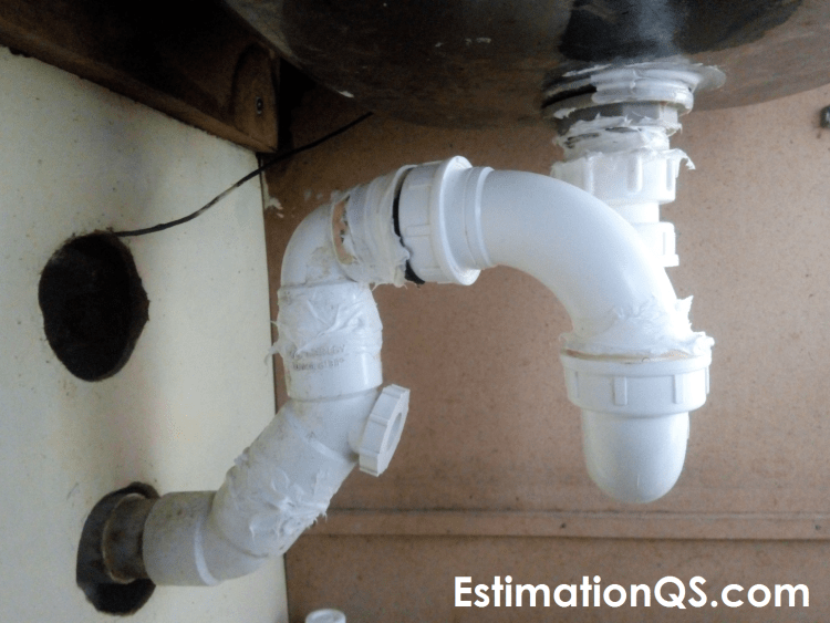 S-Trap with Bent L-shaped Configuration Under Old Kitchen Sink - Slip Nut Joint Sealed with Silicone Caulk