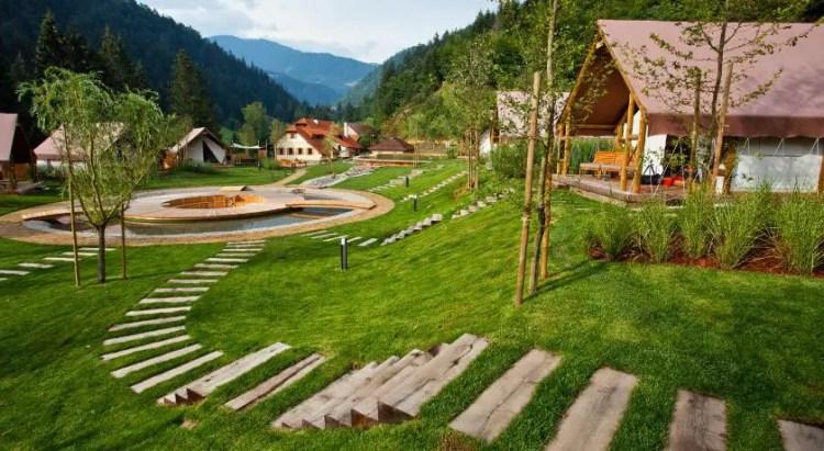 Herbal Glamping Resort Ljubno Slovenia - Glamorous Camping (4) Timber Railway Sleepers Path