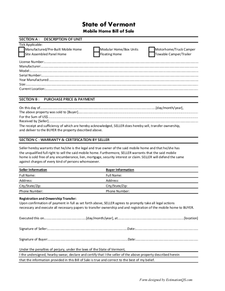 Vermont Mobile Home Bill of Sale - Free Template