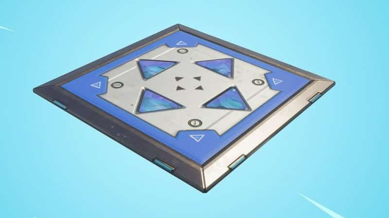 The bouncer platform, a steel tile with blue directional arrows
