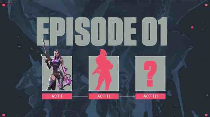 Episode 01 appears in text above three boxes, one with a female Valorant agent, one with a silhouette and one blank
