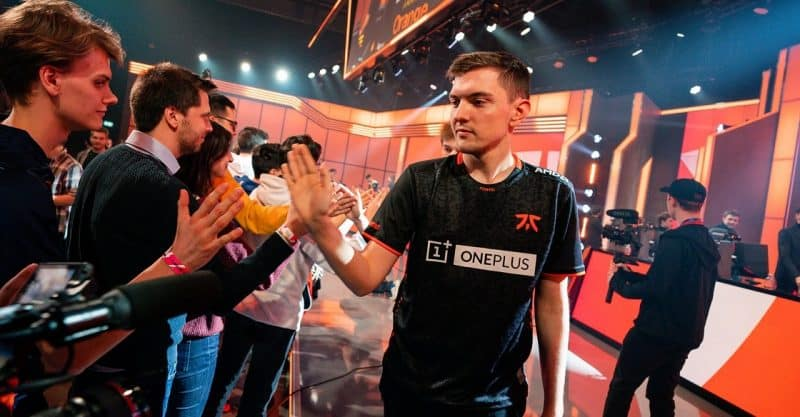 Fnatic's LoL player Selfmade high fiving fans after a match win in the LEC arena