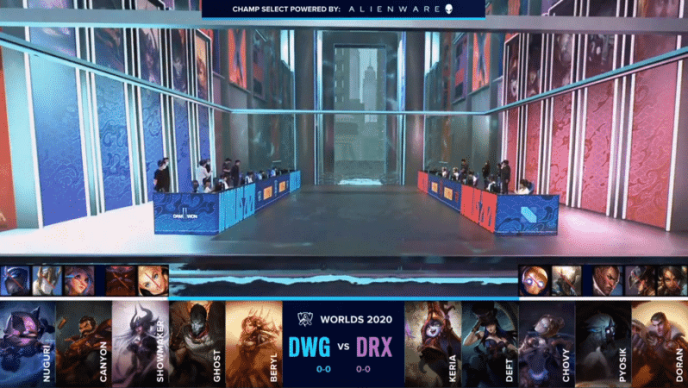 The Damwon Gaming and DRX LoL rosters on a flooded Worlds 2020 stage with their game one drafts below