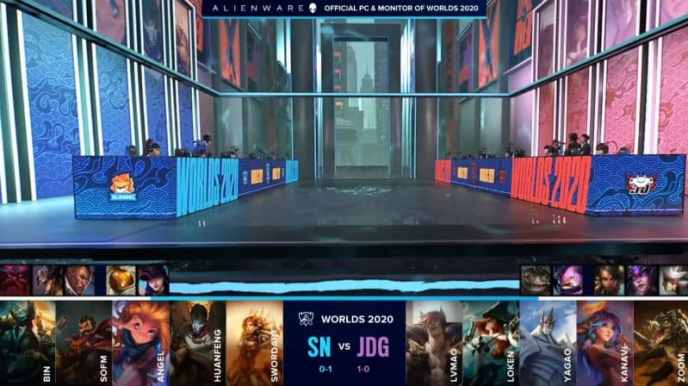 The Suning and JD Gaming LoL teams on a flooded worlds 2020 stage with their game two drafts below