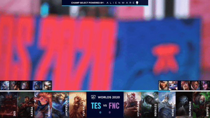 A blurry picture of a Worlds 2020 and a Fnatic logo shows above the TES and FNC drafts for game one