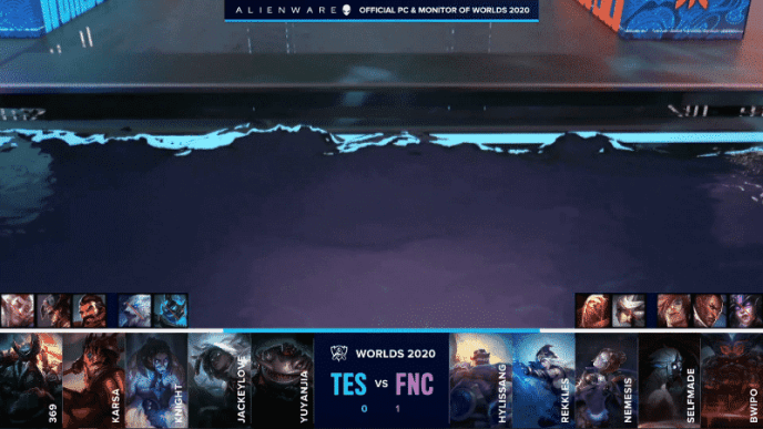 A picture of the watery area of the Worlds 2020 stage is shown with the TES and FNC game two drafts below