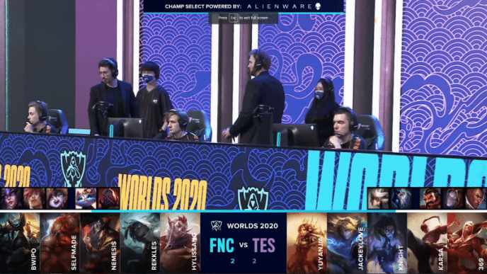 The Fnatic LoL team on the Worlds 2020 stage with their game five draft against TES below
