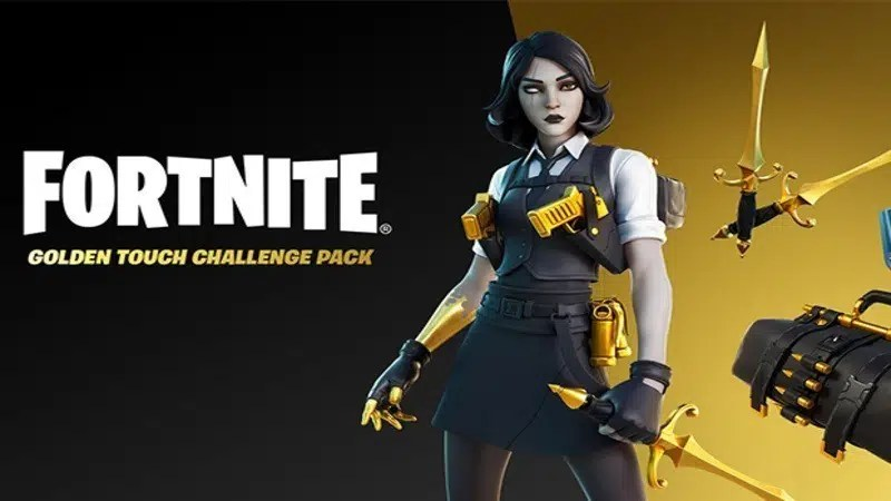 Top 10 Best Fortnite Skin: From 2017 to 2021   A female secret agent with golden daggers and holstered pistols, the Marigold Fortnite skin, appears next to the words Fortnite Golden Touch Challenge Pack.