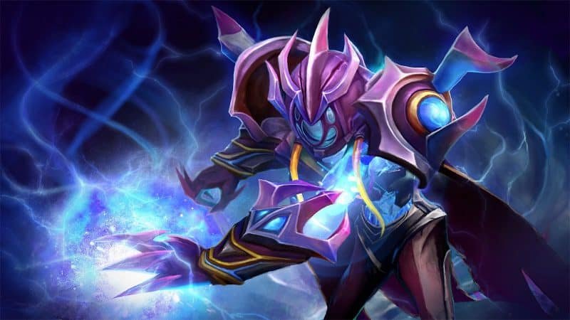 Zet, the Arc Warden stands in a stylized suit of spiked purple armor, electricity coursing from his open hands