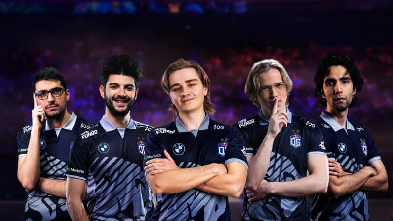 OG's Dota 2 roster from L to R; Saksa, Ceb, N0Tail, Topson and SumaiL