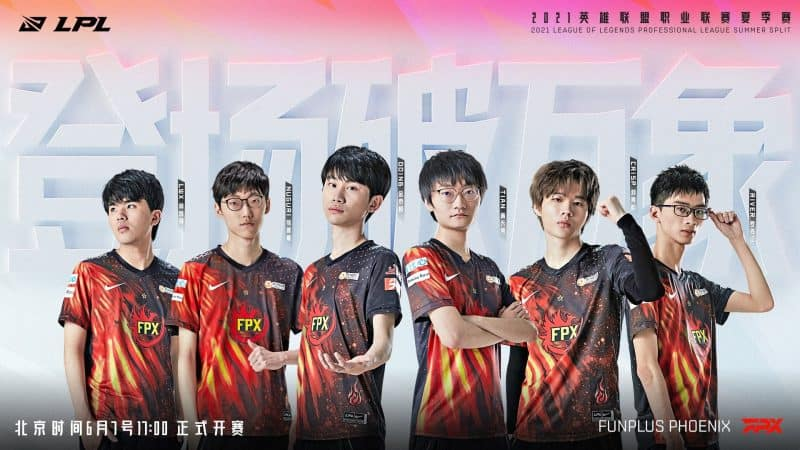 The FunPlus Pheonix 2021 LoL roster poses together with their names on small banners next to them, the team logo in one corner and the LPL logo in another with Chinese writing throughout.