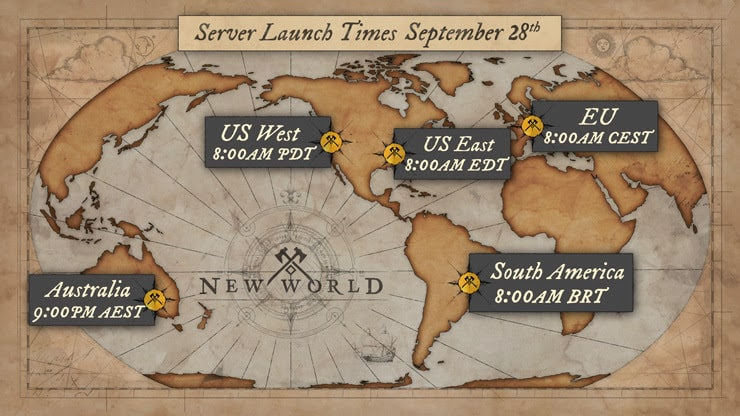 A map of the world, drawn in an old fashioned, antique style, shows the launch times for different cities
