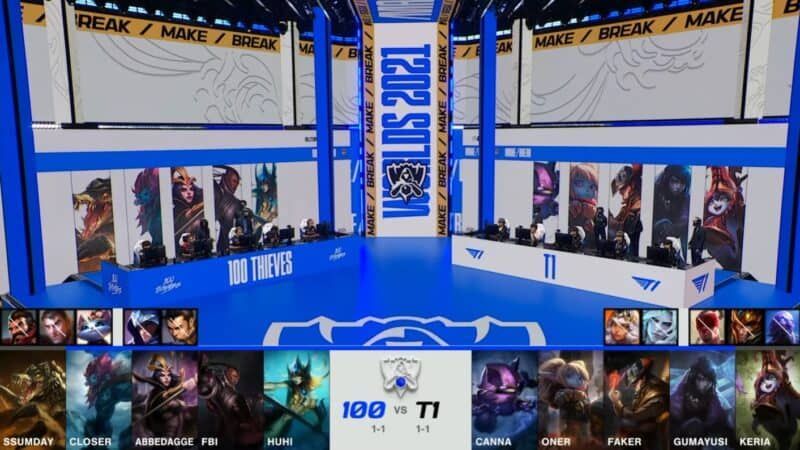 A screenshot from the 2021 World Championship Main Event Group Stage broadcast, showing the champion drafts between 100 Thieves and T1 with a shot of 100T and T1 on the Worlds 2021 stage above.