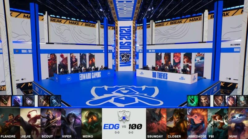 A screenshot from the 2021 World Championship Main Event Group Stage broadcast, showing the champion drafts between Edward Gaming and 100 Thieves with a shot of 100T and EDG on the Worlds 2021 stage above.