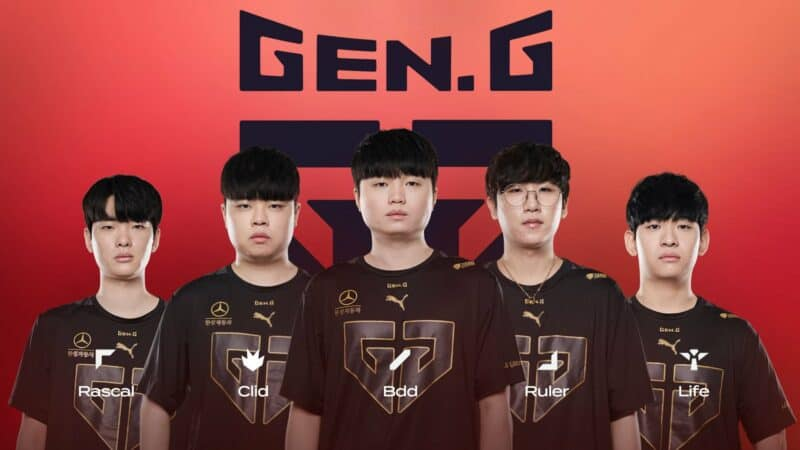 The Gen.G LoL roster of Rascal, Clid, BDD, Ruler and Life appear together with their names in front of them and a Gen.G logo on a red background behind.