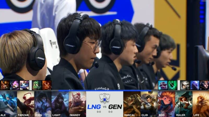 A screenshot from the 2021 World Championship Main Event Group Stage broadcast, showing the champion drafts between Gen.G and LNG Esports with a shot of the LNG LoL team on the Worlds 2021 stageabove.