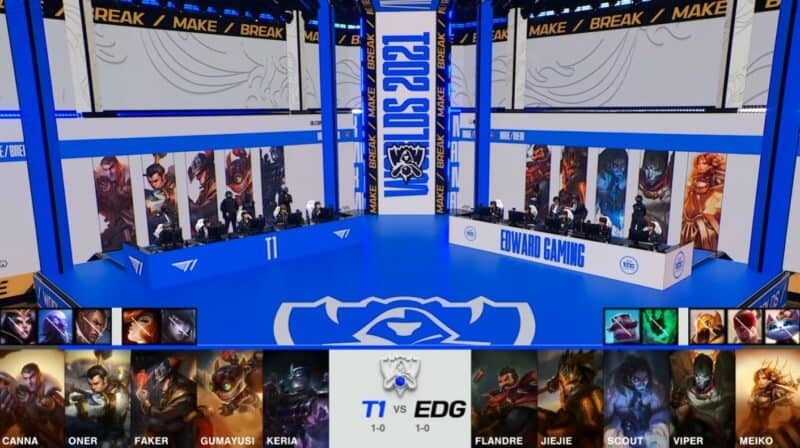 A screenshot from the 2021 World Championship Main Event Group Stage broadcast, showing the champion drafts between Edward Gaming and T1 with a shot of T1 and EDG on the Worlds 2021 stage above.