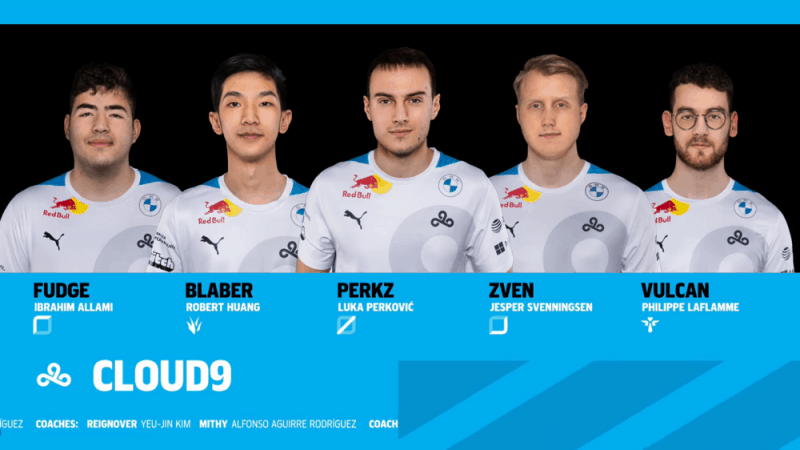 The Cloud9 LCS team of Fudge, Blaber, Perkz, Zven and Vulcan stand together above a blue banner with thier names and a Cloud9 design in it.