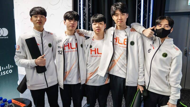 Team Hanwha Life Esports poses back stage at the League of Legends World Championship 2021.