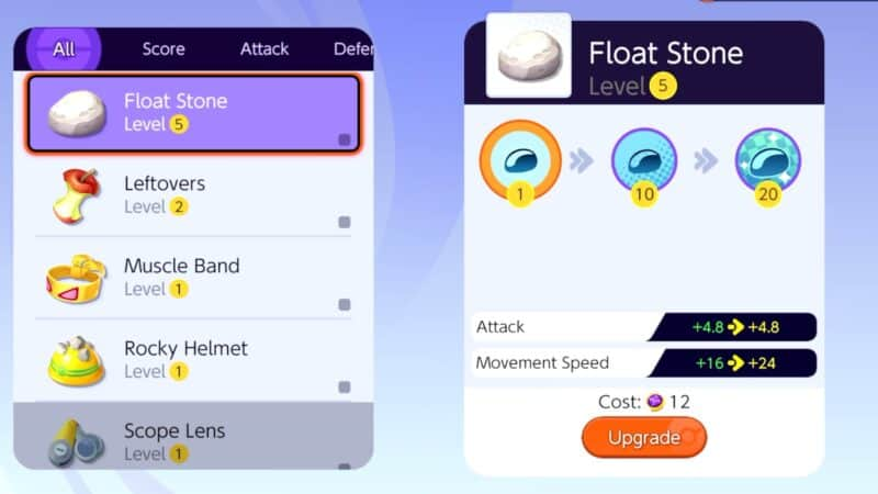 The items upgrade screen, showing the players Float Stone upgrade to 5