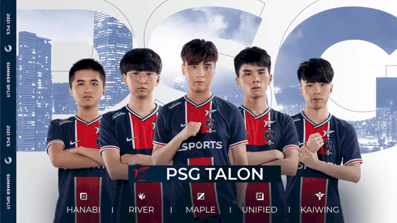 """The PSG.Talon LoL team of Hanabi, River, Maple, Unified and Kaiwing appear together in with the letters """"PSG"""" behind them holding cities in them."""