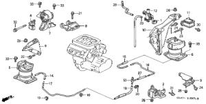 Honda online store : 2000 accord engine mounts (v6) (3) parts