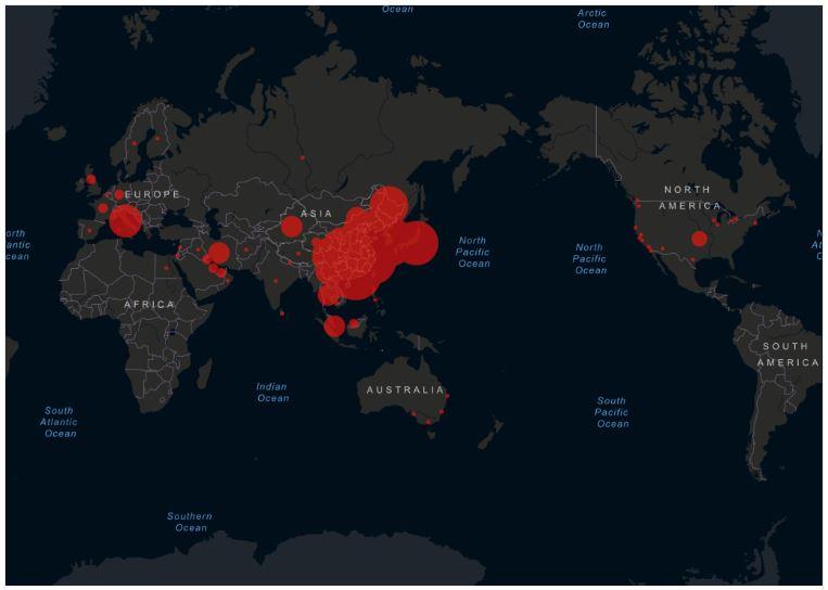 Alerta Coronavirus mapa de infección, Alerta Coronavirus mapa de infección