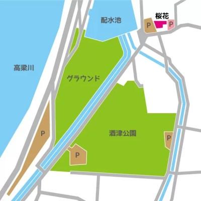桜花駐車場地図