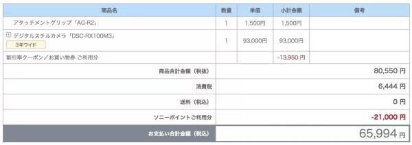RX100M3購入時の明細