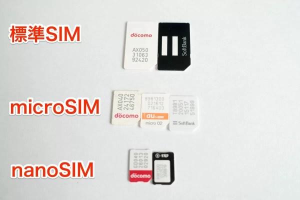 SIMカードの大きさの種類