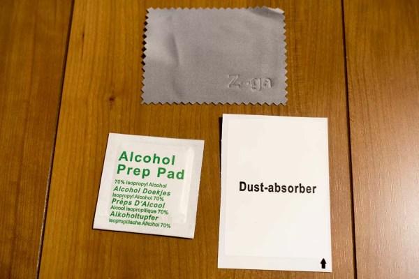 同梱品はクロス・ホコリとり・アルコール洗浄