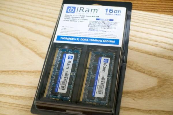 iRam PC3-14900 (DDR3-1866) SO.DIMM 16GBを購入