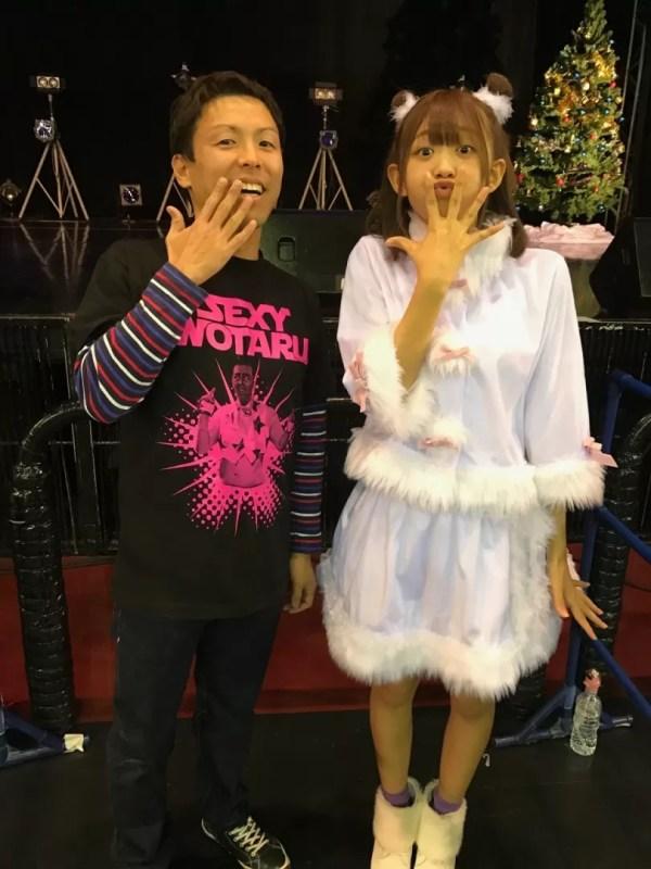 松田美里さんとの写メ。勝手に「チンアナゴ」の顔されたw