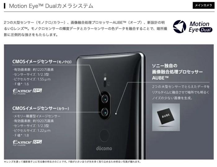Xperia XZ2 Compact SO-05Kもモノクロカメラを追加で搭載
