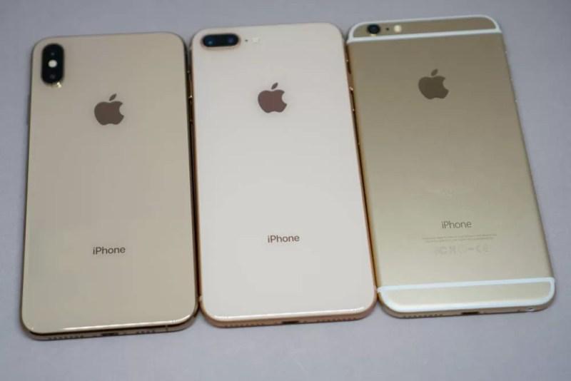 左からiPhone XS Max、iPhone 8 Plus、iPhone 6 Plus