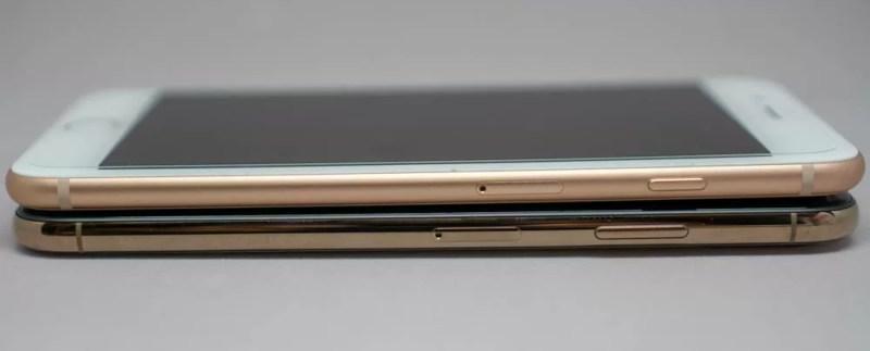 iPhone 8 Plusと比較(側面のフレーム)